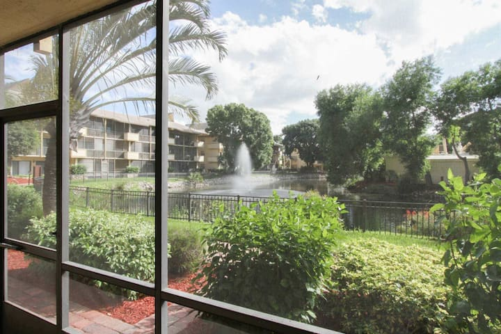 Amazing view from inside your screened lanai! Follow walkway outside lanai & across bridge to on site restaurant!
