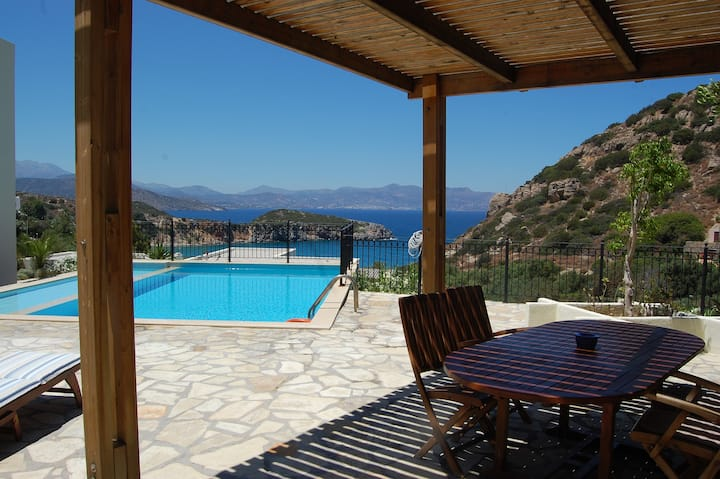 Blue seaview villa Ourano with pool