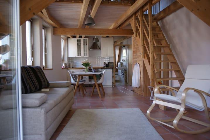 Blick vom möblierten Balkon aus in die Wohnung. Die Treppe führt in einen privaten Bereich, der nicht mit vermietet wird. Während der Vermietung wird dieser aber nicht genutzt.