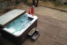 Sparkling clean spa.  Our Spa guy, Christian, getting the spa ready for your visit.