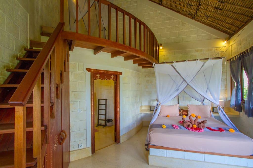 Mezzanine and bed