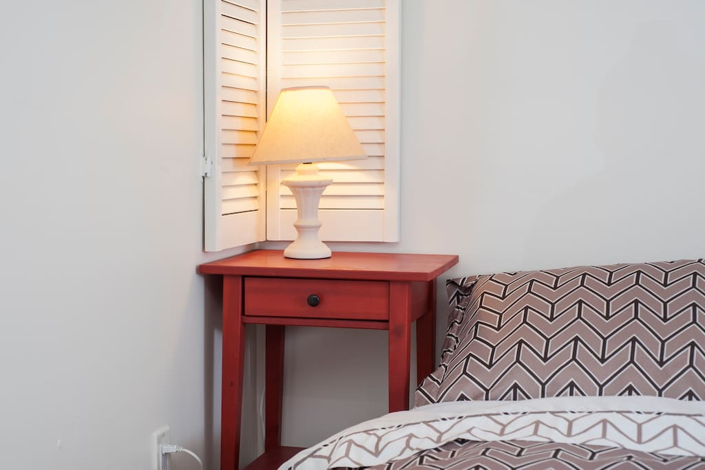 Bedside table with a night light.