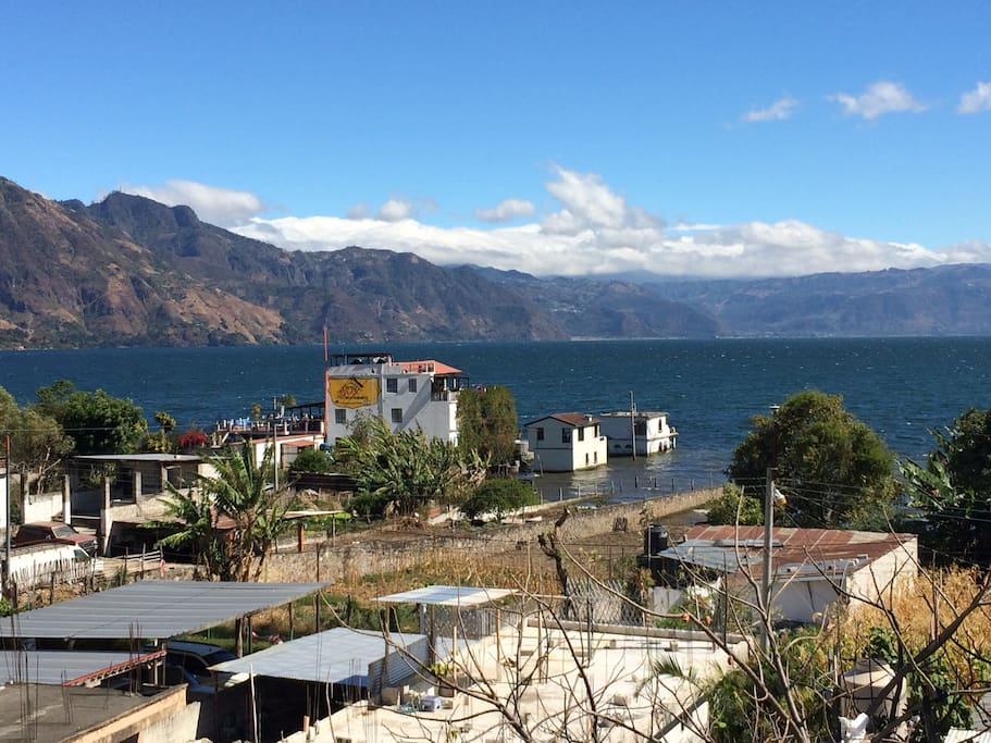 View of Lake Atitlan from apartment terrace.