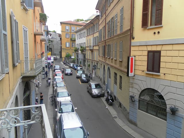 Street view from balcony.