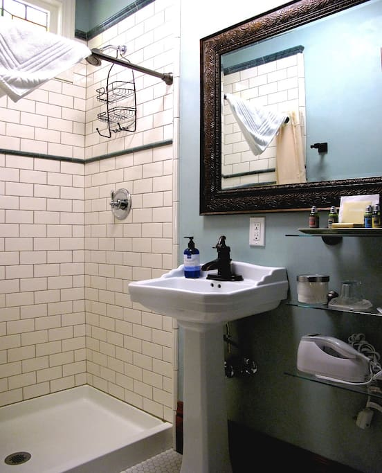 Beautiful tiled walk-in shower (no tub)