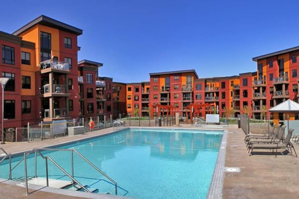 Outdoor pool, hot tub and barbecuing area