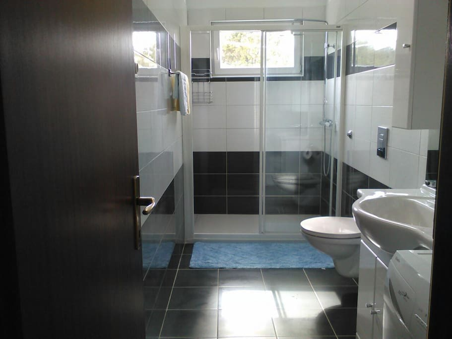 Big and comfort toilet with big shower..