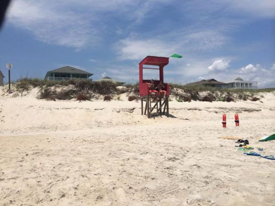 Life guard stand at the entry of the beach.