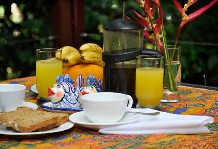 Breakfast is served on the suspended decking