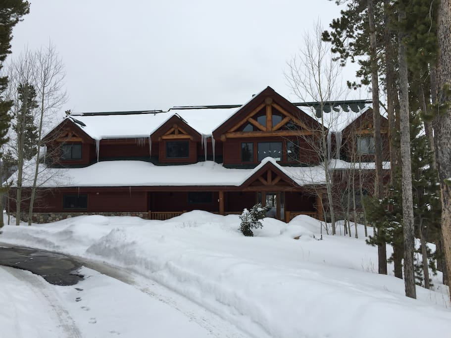 The front of our cabin as seen in the winter!