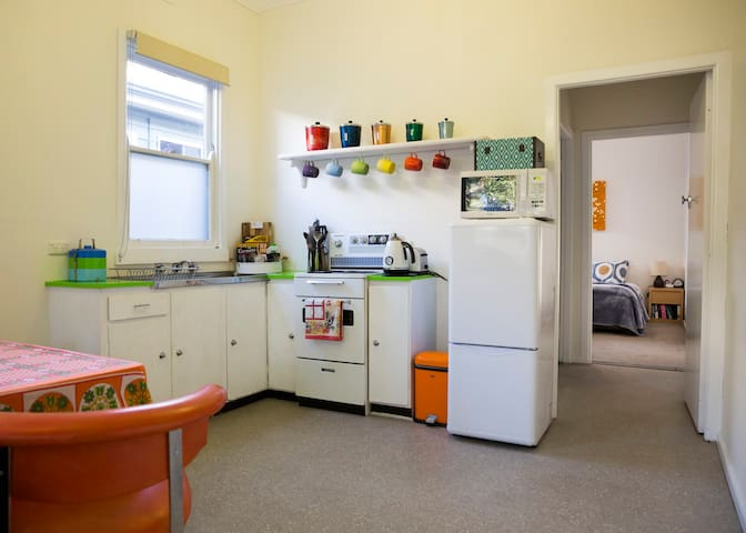 3/4 size fridge.  Retro stove/oven.  Prepare food in style while you stay.