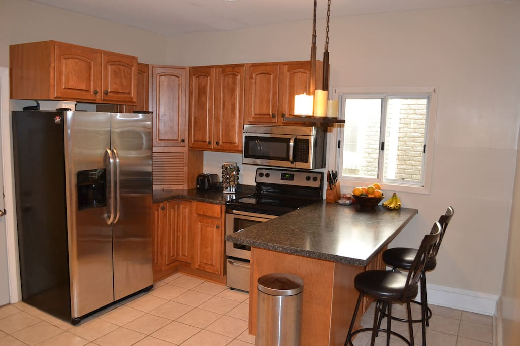 Updated stainless steel appliances, including dishwasher