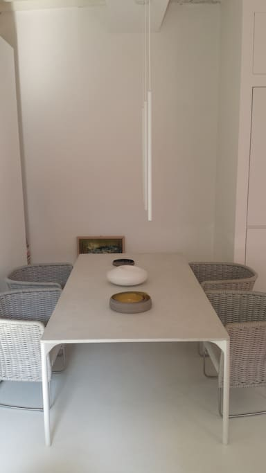 Dining table from the living side