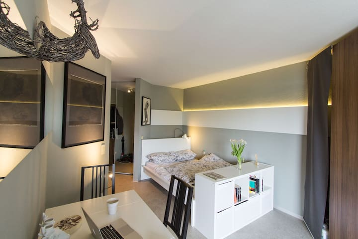 Bright apartment with balcony to the Rhine