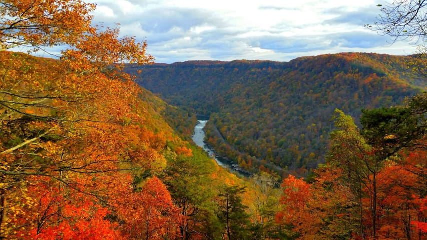 The New River Gorge from the NRG National Pk observatory platform, Fayetteville/Lansing, WV. Little over an hour away. Great adventure area with white water rafting, zip lines, canopy tours, old coal mines and hiking. Some good food in Fayetteville too!