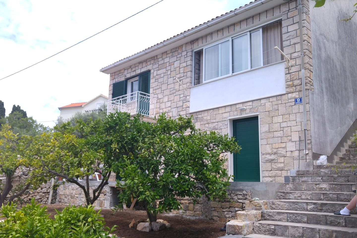 Front of the house with a garden