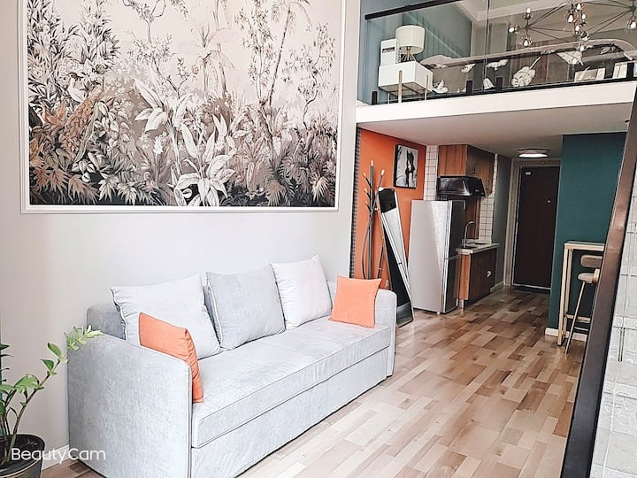 欧亚卖场Loft小复式轻奢大床房