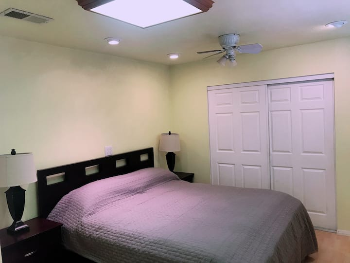 Clean Bedroom with Cal King Bed and Private Bath