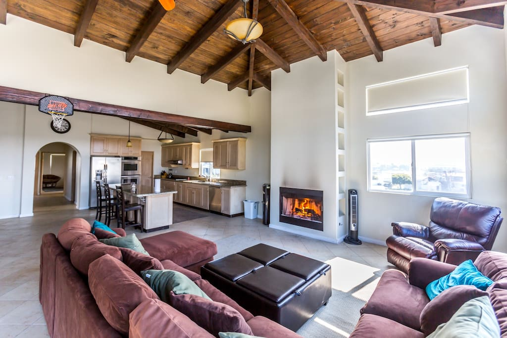 High vaulted ceilings throughout 2nd floor of house