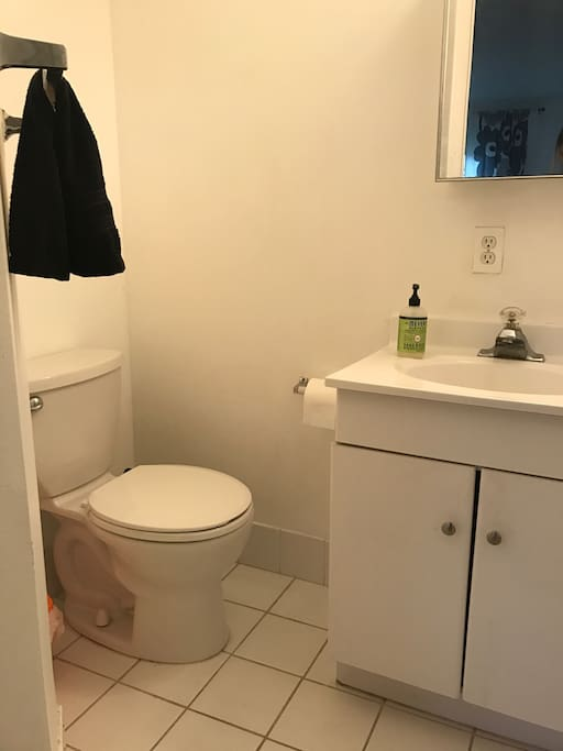 1.5 bathroom attached to the bedroom