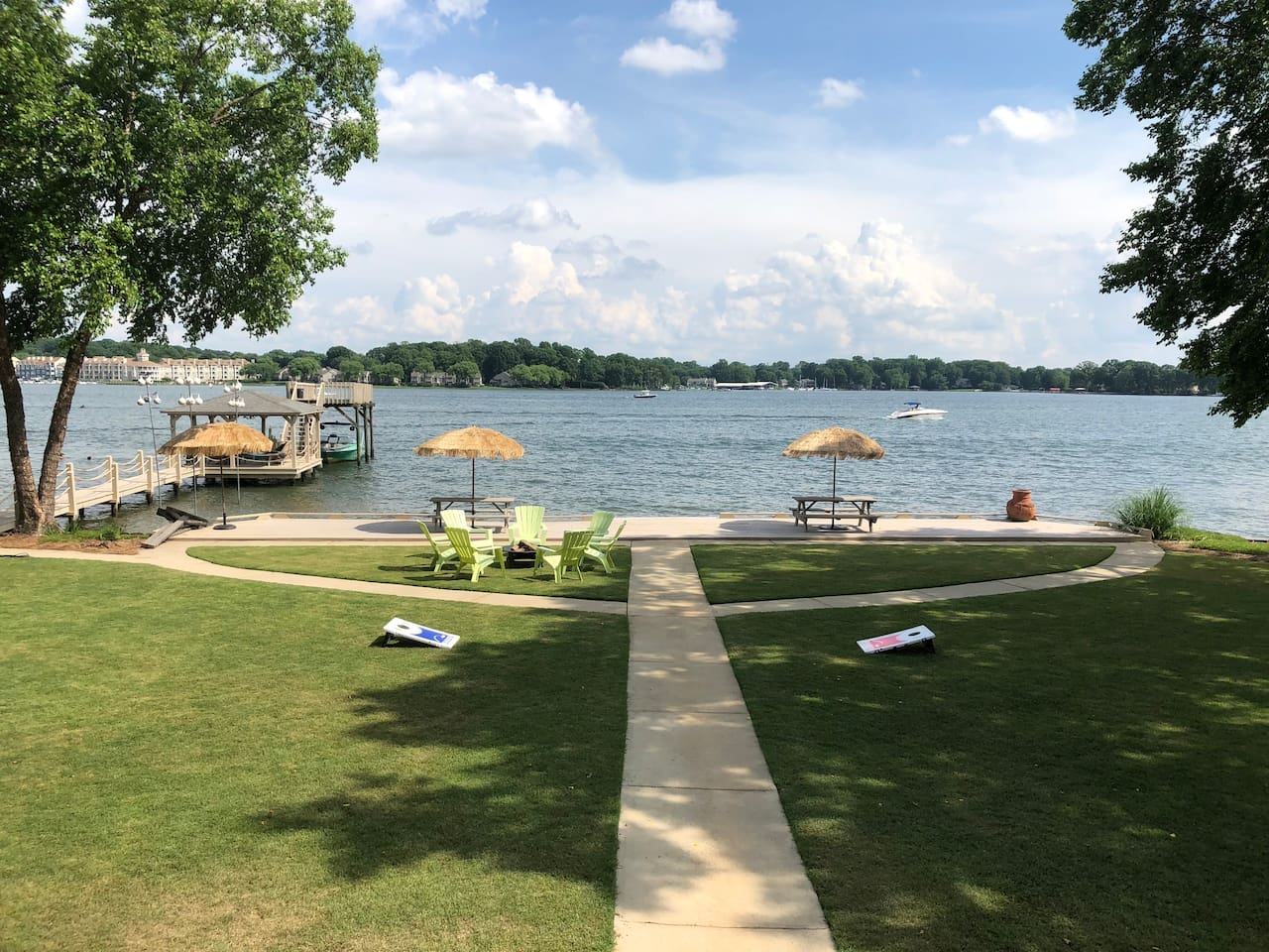 View of the lake from the house with big yard to play