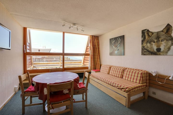 Studio for 4 persons in Arc 1600 center close to the slopes