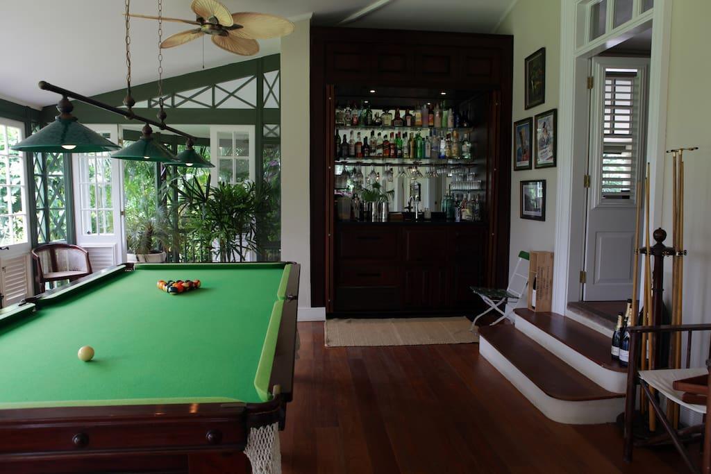 The billiards table / bar