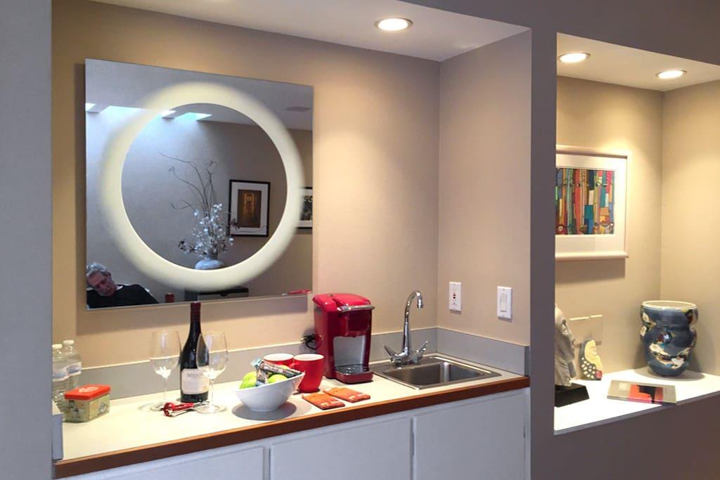 - Bar Sink   - Keurig Coffee   - Mirrored Vanity