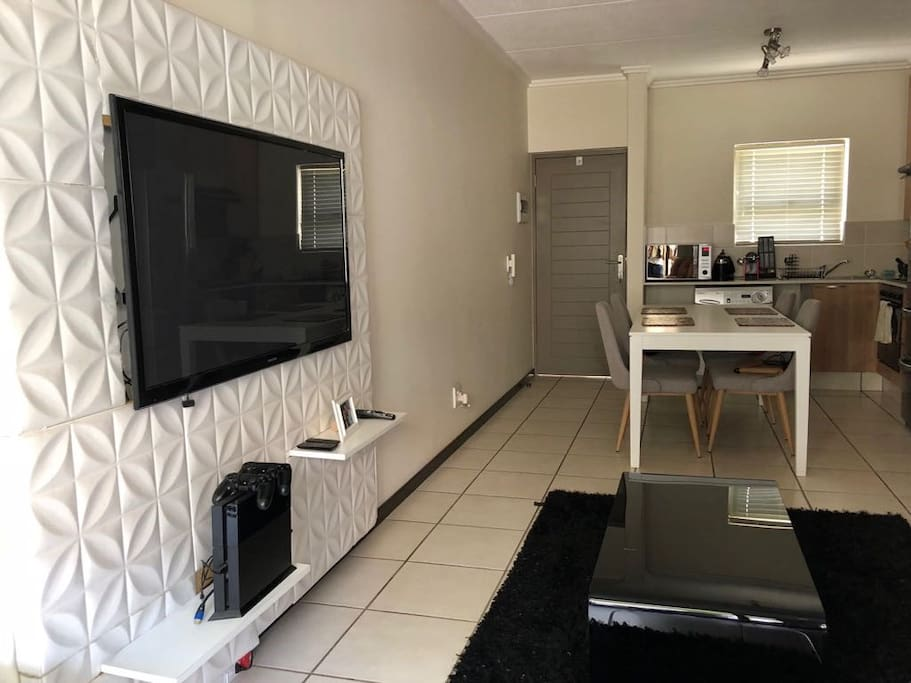 "50"" Smart TV full uncapped wifi. Coffee table in Lounge with 3 Seater Couch"
