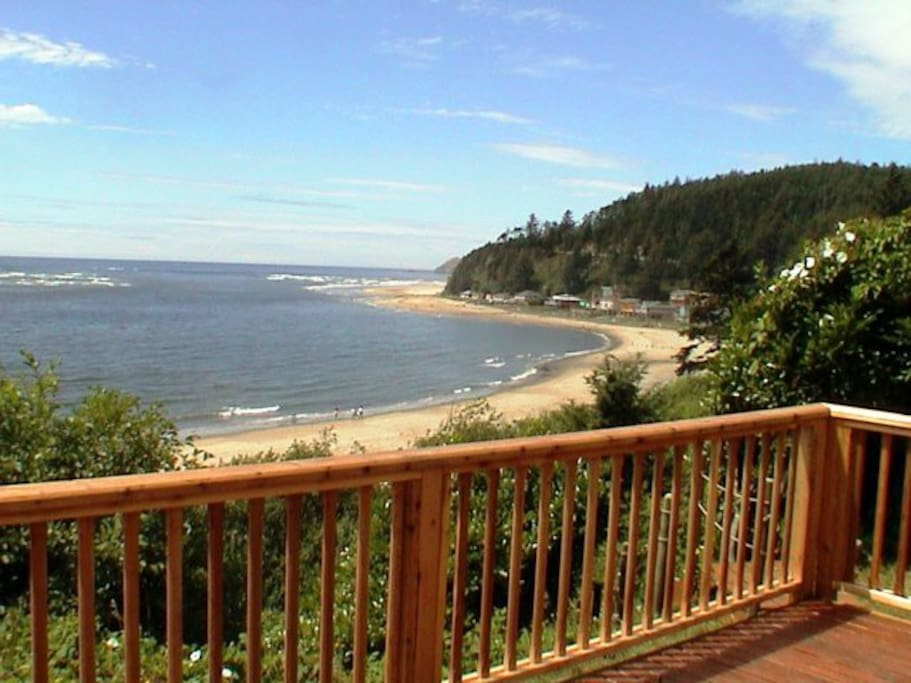 There is a deck on the west side that looks out over our beach.