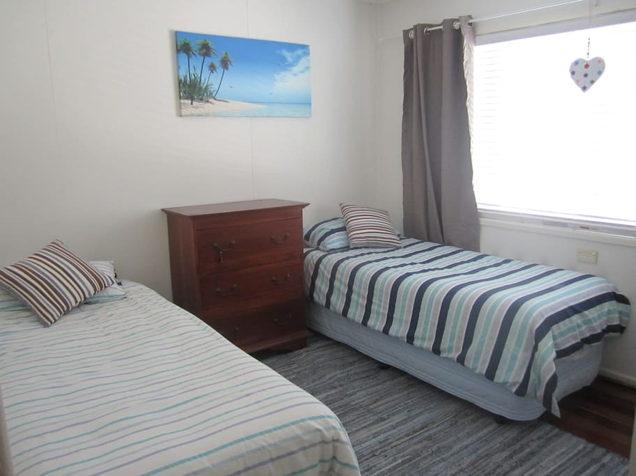 2 comfortable single beds for friends to share a room....