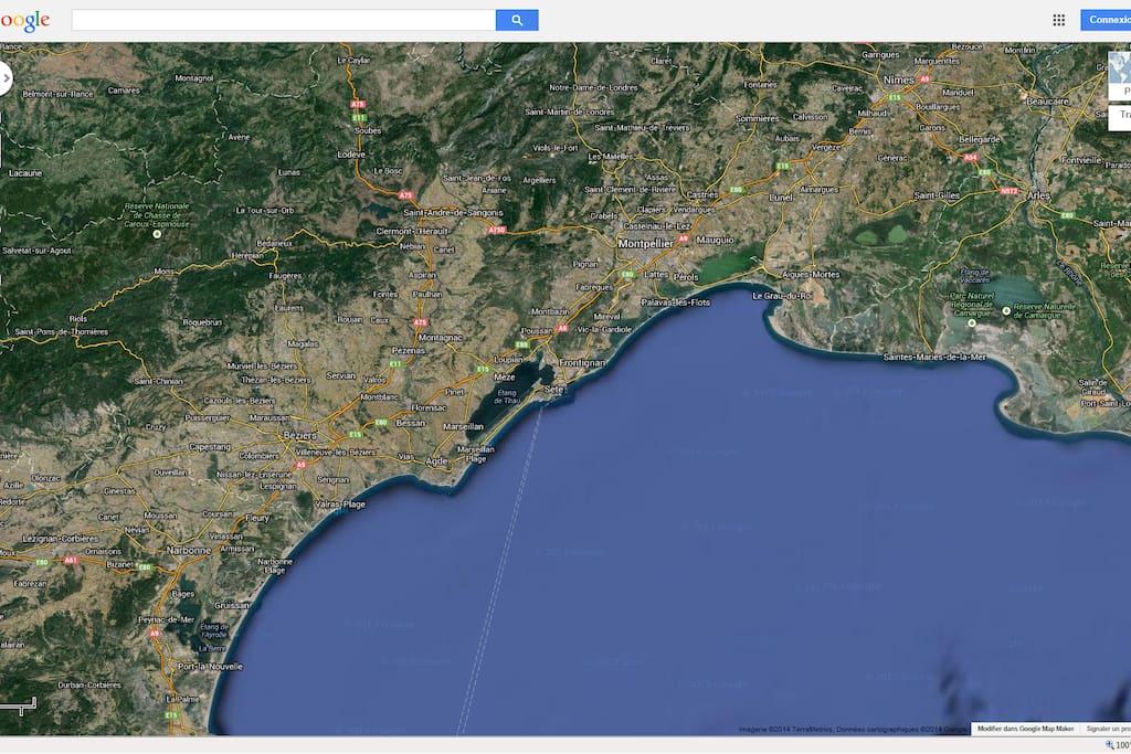 vue géographique du Languedoc
