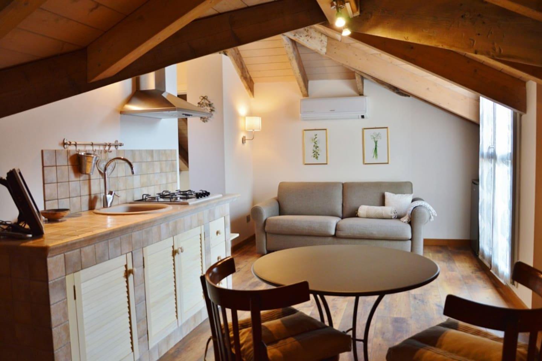 La cucina, il tavolo da pranzo e il divano letto.