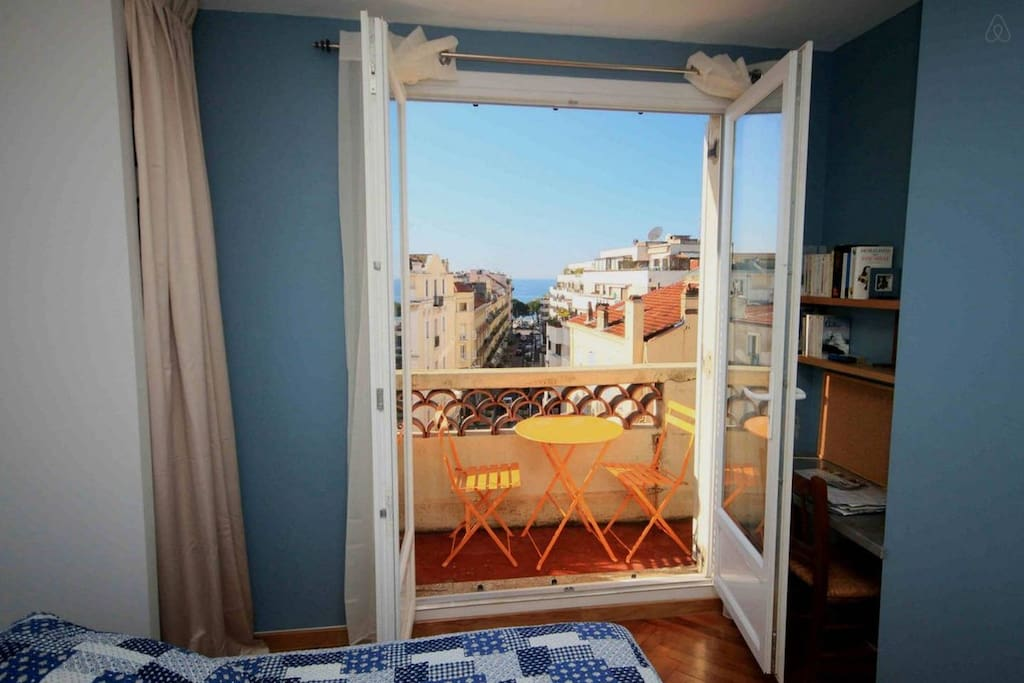 bedroom view and the balcony
