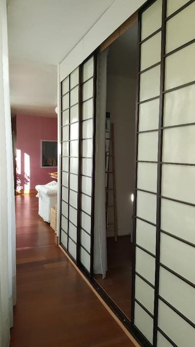 Your room is closed by these sliding doors