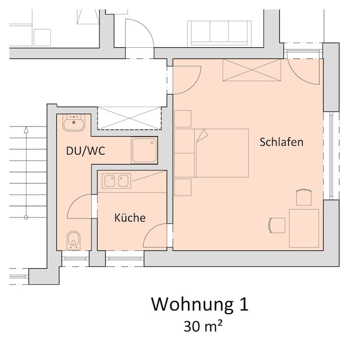 """Skizze vom Appartement """"Studio"""" für 2-4 Personen"""