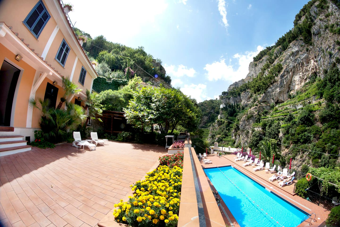 Private Terrace and shared swimming pool