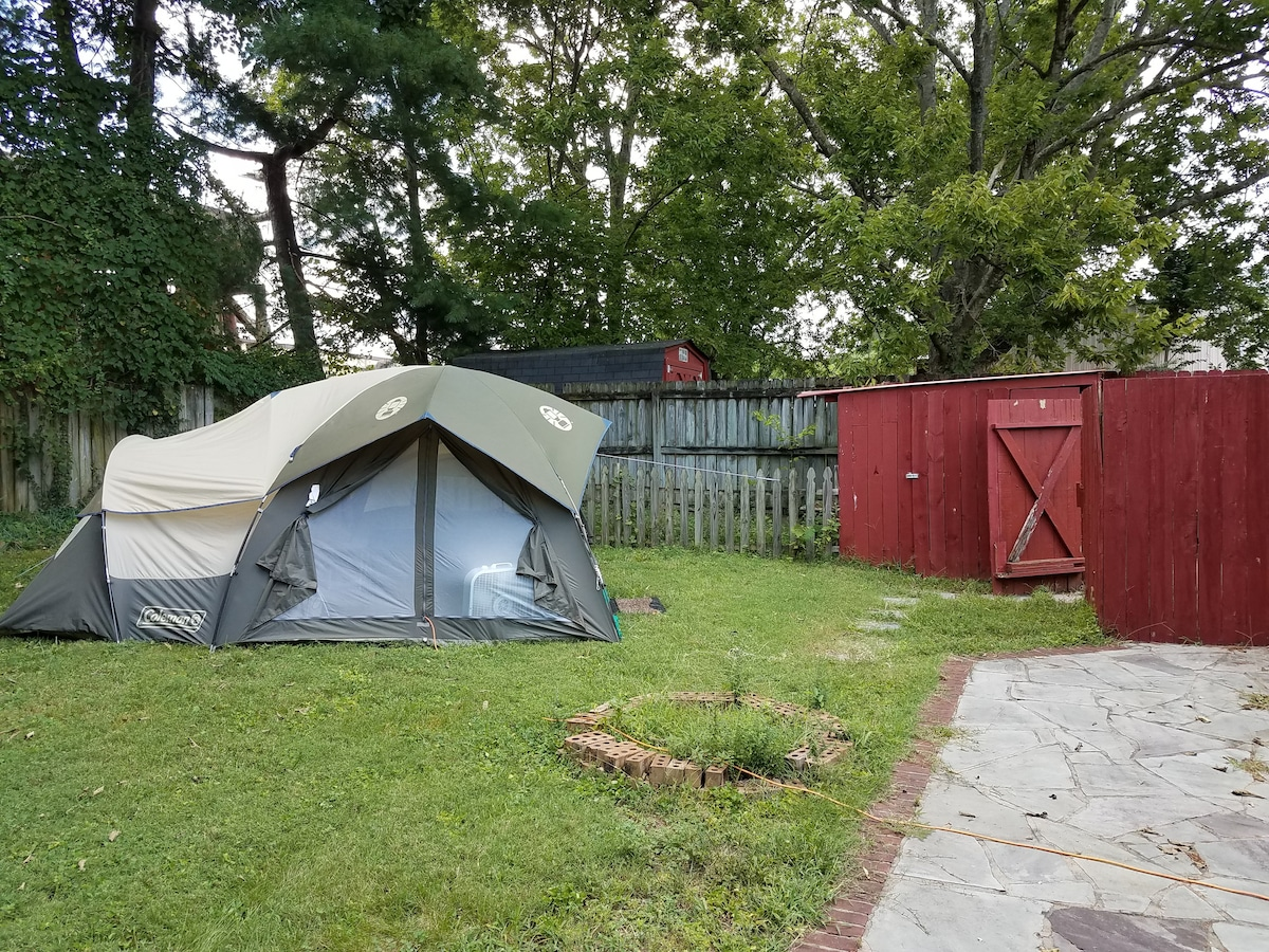 ... External view of tent in yard. 3 queen mattresses can be provided & Camp: 2 mi Dtown Franklin 30 min to Nashville - Tents for Rent in ...