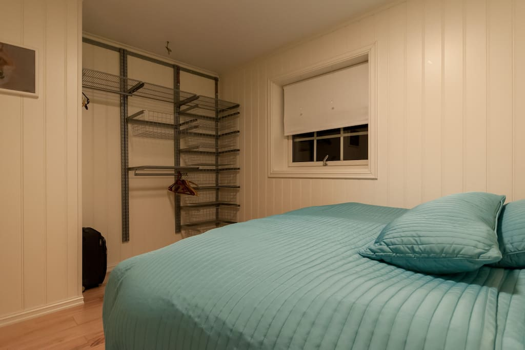 Part of the spacious wardrobe available for guests