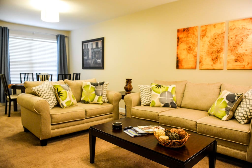 Brand new plush couches with end tables & coffee table