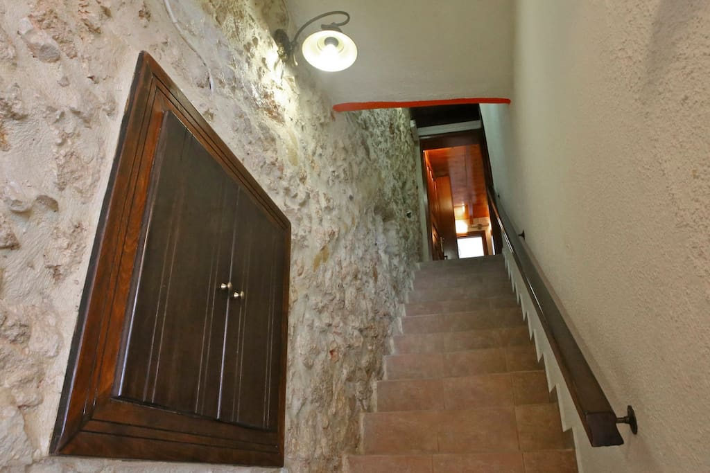 Staircase  from entrance, to house