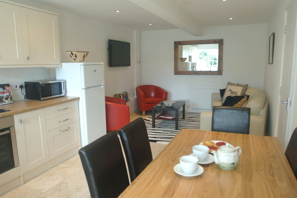 Lovely open plan kitchen, dining and living room.