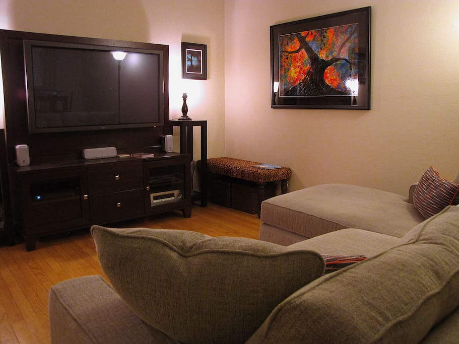 Large screen TV in family room