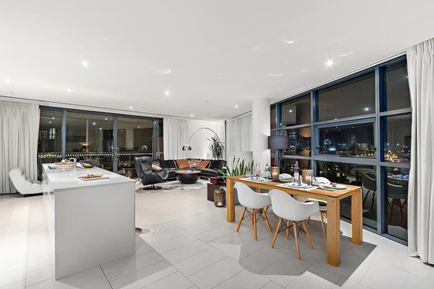 Living room, kitchen and dining area