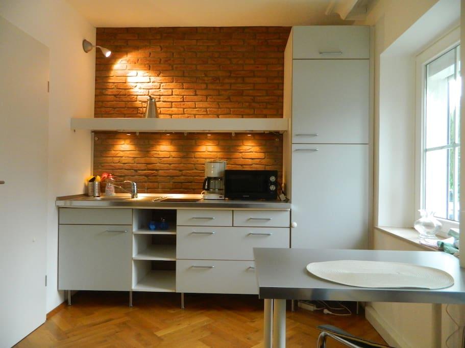 Küchenzeile im WZ, 2-Platten, Mikrowelle, Kühlschrank, Spüle