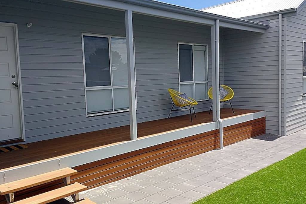Within approximately 100 metres of the beachfront with secure yard for kids to play safely