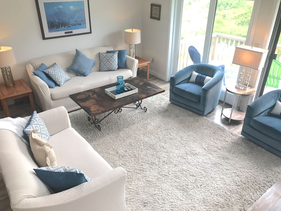 Open living  area. Very social! Great deck off this room with views of Windham mountain.