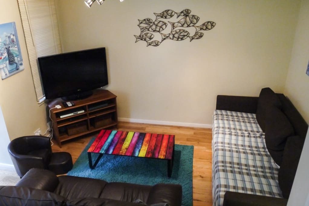 Cosy Living Room with TV and Internet.  New Sofa-bed (on right)