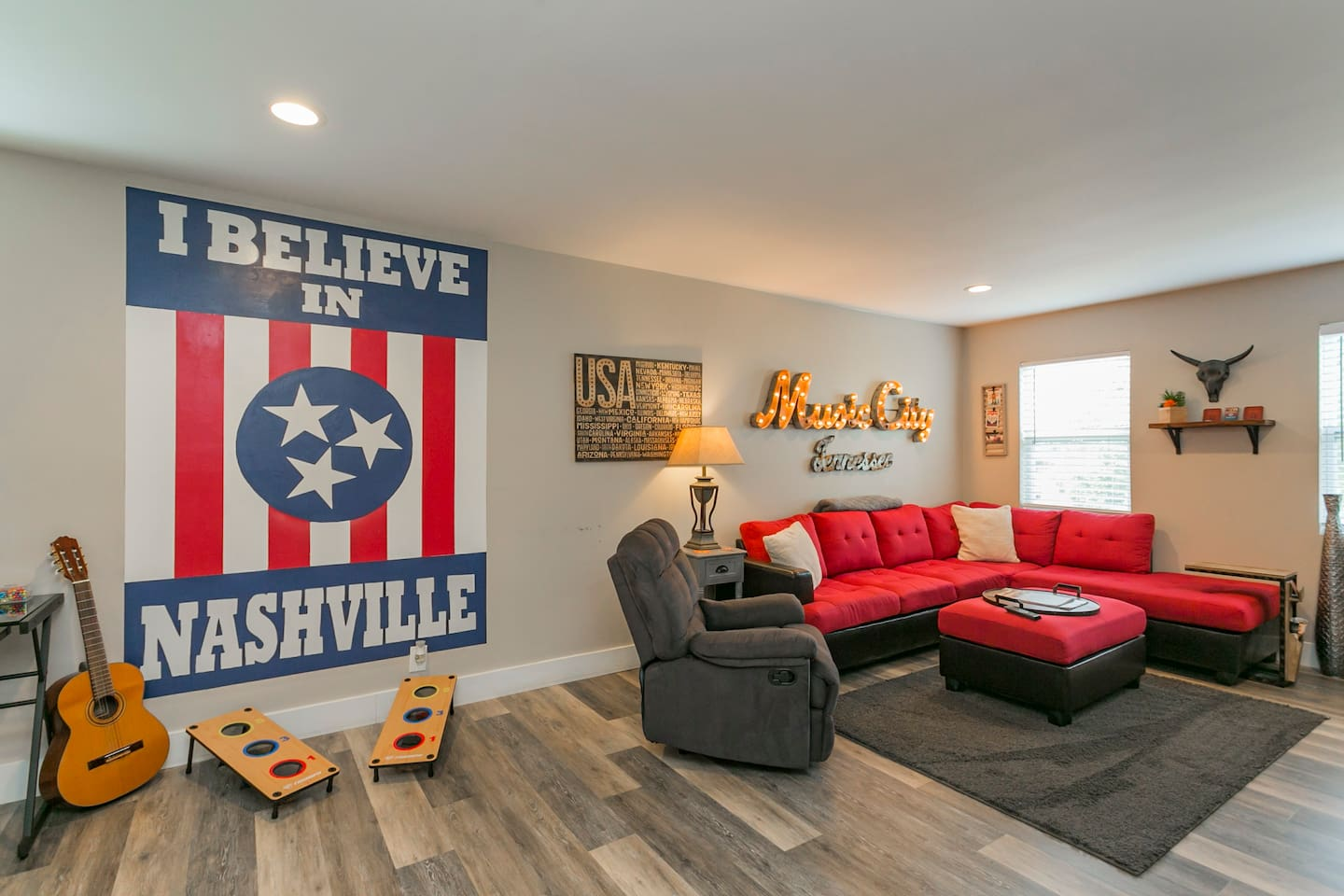 Enjoy the living room or a quick game of bag toss!