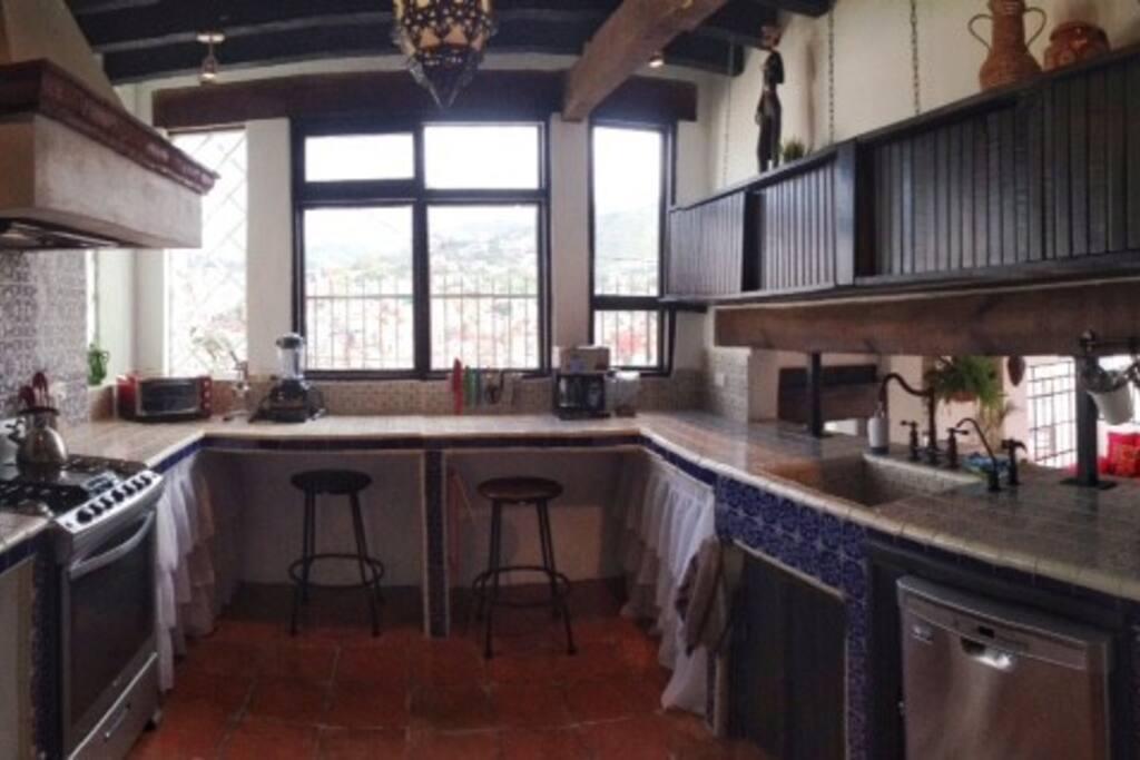 Casa Mirador large kitchen with great views